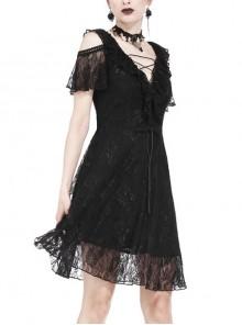 Black Off-Shoulder Bandage V-Neck Lace Gothic Dress