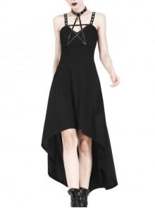Black Rivet Leather High Waisted Sling Long Punk Dress