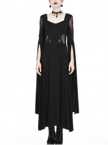 Black Star Hollow Lace Square Collar Long Knitted Gothic Dress