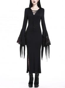 Black Bandage V-Neck Witch Sleeves Slit Hem Long Hooded Holloween Gothic Dress