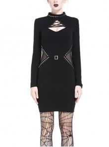 Black lace-up Neckline Hollow Waist Bodycon Punk Dress