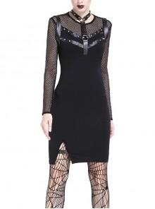 Black Mesh Rivet Slit Tight Midi Punk Dress