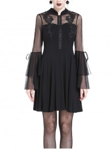 Black Stand-Up Collar Muslin Embroidery High Waisted Gothic Dress