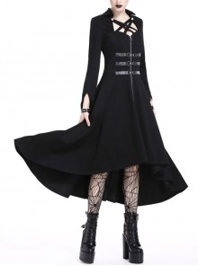 Black Buckle Zippered Leather Binds High Waisted Long Punk Dress