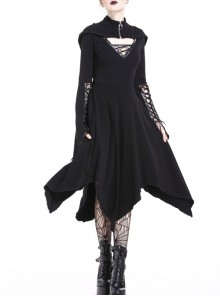 Black Lace-Up V-Neck Long Sleeves High Waisted Hooded Gothic Dress