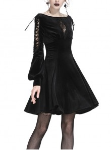Black Lace-Up Hollow Embroidery High Waisted Velvet Midi Gothic Dress