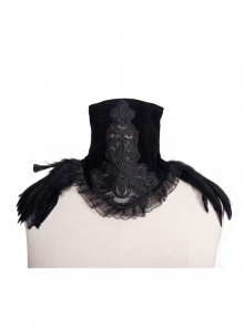 Black Gothic Feather Decorated Lace Velveteen Collar