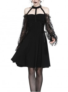 Black Off-Shoulder Lace-Up High Waisted Lace Gothic Dress