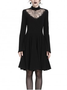Black Hollow Spiderweb Pattern High Waisted Long Sleeves Punk Dress