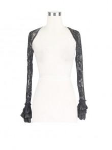 Black Gothic Fringe Lace Stretch Rose Net Flared Long-Sleeved Shawl