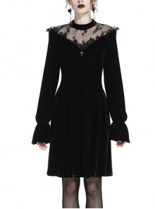 Black Cross Hollow Embroidery Lace Long Sleeve  Velvet Gothic Dress