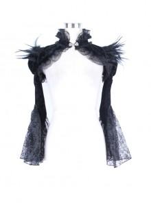 Black Gothic Flocking Yarn Horn Sleeve Embossed Velveteen Feather Cape