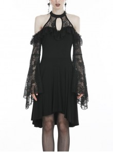 Black Off-Shoulder Hollow Lace Embroidery Knitted Gothic Dress