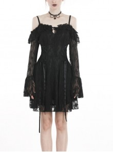 Black Off-shoulder Lace-Up Lace High Waisted Sling Gothic Dress