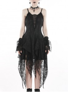 Black Lolita Hollow Lace Tasseled Hem Sling Gothic Dress