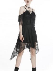 Black Lace-Up Lace High Waisted Tasseled Hem Sling Gothic Dress