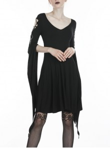 Black Long Hooked Flower Sleeves High Waisted Tight Punk Dress