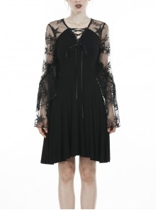 Black Lace-Up Star Embroidery Lacey Casual Gothic Dress