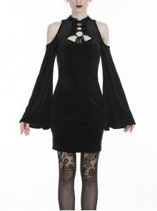 Black Off-Shoulder Lace-Up Long Sleeves Slim Gothic Dress