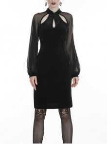 Black Gauze Lantern Sleeves Tight Gothic Retro Dress
