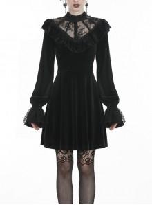 Black Lolita V-Neck Lace Embroidered Button Long Sleeves Velvet Gothic Dress