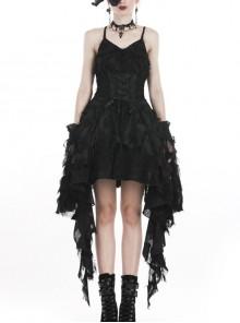 Black Lace Feather Side Long Hem Sling Gothic Dress