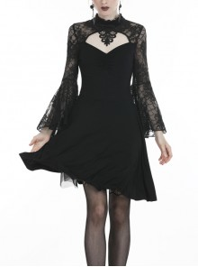 Black Flower Neck Gauze Embroidery Lace Long Sleeves Gothic Dress