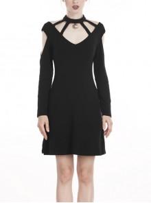 Black Moon Pendant V-Neck Bandage Long Sleeves Daily Wear Punk Dress