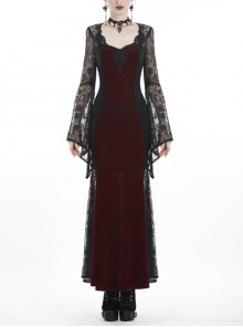 Black Lace Embroidery Long Sleeves Red Velvet Gothic Dress