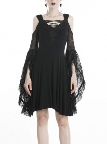 Black Lace-Up Neck Big Lace Embroidered Long Sleeves High Waisted Gothic Dress