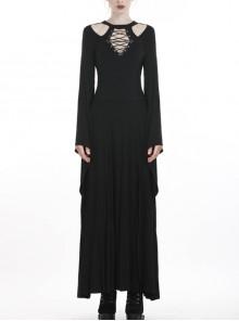Black Chest Lace-Up Long Sleeves Slit Hem Punk Rock Long Dress