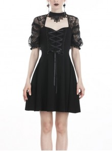 Black Lolita Halter Lace-Up Lace Embroidery With Necklace Gothic Dress