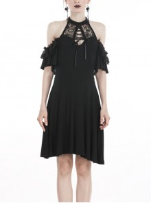 Black Chest Lace-Up Off-Shoulder Lace Sleeves Gothic Dress