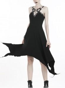 Black Off-Shoulder Chest Metal Straps Long Hem Punk Dress