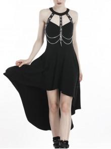 Black Off-Shoulder Leather Straps Metal Chain Tail Long Hem Punk Dress