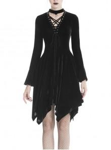 Black V-Neck Chest Lace-Up Long Sleeves Punk Rock Dress