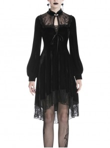 Black Lace Embroidery Chest Lace-Up Long Sleeves Velvet Gothic Dress