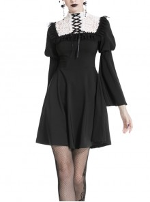 Black Cute Chest White Chiffon Lace-Up Long Sleeves Gothic Dress