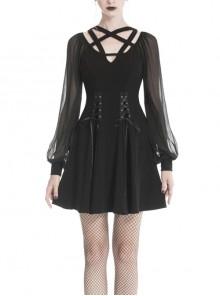 Black V-Neck Chest Star Bandage Lace-Up Long Gauze Sleeves Punk Dress