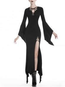 Black Chest Lace-Up Long Sleeves Slit Hem Maxi Tight Gothic Dress