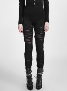 Gothic Black Mesh Close Fitting Long Leggings