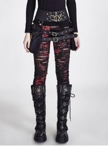 Gothic Black-Red Mesh Close Fitting Long Leggings