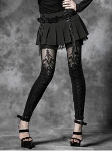 Gothic Black Flocking Bind Lace Skinny Leggings