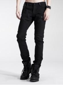 Punk Black Elastic Wash Water Long Trousers