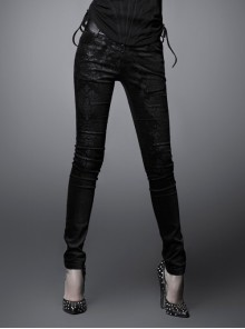 Gothic Elastic Long Black Floral Printed Leggings