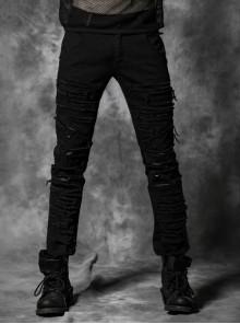 Punk Male Black Denim Torn Pants With Stretch