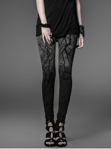 Dark Grey Gradient Female Skinny Pants With Branches Decoration
