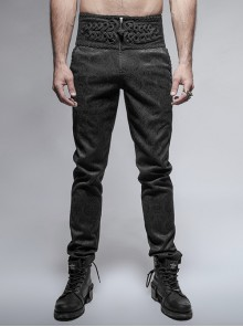 Daily Gothic Peacock Button Man Black Pants