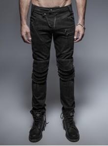 Military Uniform Buckle Skinny PU Leather Pants With Belt