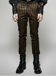 Steam Punk Black And Cofee Stripped Man Pants